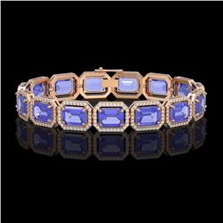 36.37 ctw Tanzanite & Diamond Micro Pave Halo Bracelet 10k Rose Gold - REF-776W4H