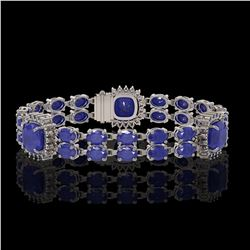 21.83 ctw Sapphire & Diamond Bracelet 14K White Gold - REF-270A2N