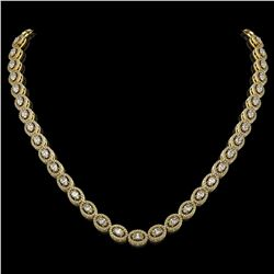 18.43 ctw Oval Cut Diamond Micro Pave Necklace 18K Yellow Gold - REF-1596N8F