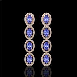 6.09 ctw Tanzanite & Diamond Micro Pave Halo Earrings 10k Rose Gold - REF-143R6K