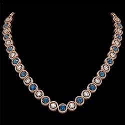 31.18 ctw Blue & Diamond Micro Pave Necklace 18K Rose Gold - REF-2904R4K