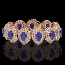 56.04 ctw Sapphire & Diamond Victorian Bracelet 14K Rose Gold - REF-1418M2G