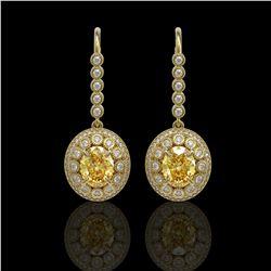 7.65 ctw Canary Citrine & Diamond Victorian Earrings 14K Yellow Gold - REF-216R9K