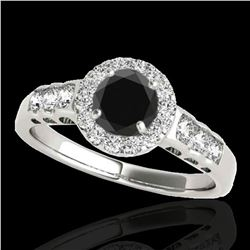 1.55 ctw Certified VS Black Diamond Solitaire Halo Ring 10k White Gold - REF-55Y9X