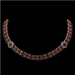 32.67 ctw Garnet & Diamond Necklace 14K Rose Gold - REF-454H5R