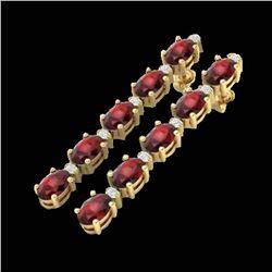15.47 ctw Garnet & VS/SI Certified Diamond Tennis Earrings 10k Yellow Gold - REF-74G8W