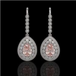 8.35 ctw Morganite & Diamond Victorian Earrings 14K White Gold - REF-364F2M