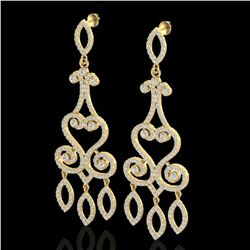 3.25 ctw VS/SI Diamond Micro Pave Designer Earrings 14k Yellow Gold - REF-318K2Y
