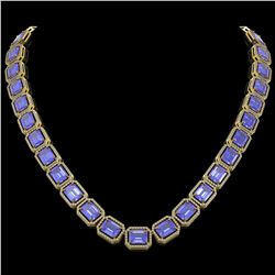 79.99 ctw Tanzanite & Diamond Micro Pave Halo Necklace 10k Yellow Gold - REF-1704H2R