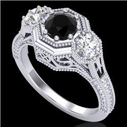1.05 ctw Fancy Black Diamond Art Deco 3 Stone Ring 18k White Gold - REF-123W6H