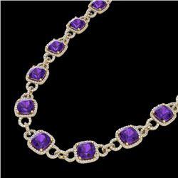 66 ctw Amethyst & Micro VS/SI Diamond Eternity Necklace 14k Yellow Gold - REF-881H8R
