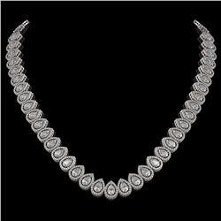 34.83 ctw Pear Cut Diamond Micro Pave Necklace 18K White Gold - REF-4761F8M