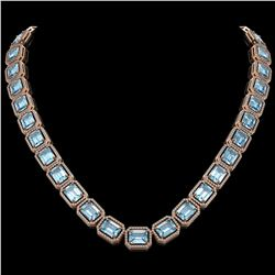 80.98 ctw Aquamarine & Diamond Micro Pave Halo Necklace 10k Rose Gold - REF-1317F3M