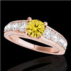2.55 ctw Certified SI/I Fancy Intense Yellow Diamond Ring 10k Rose Gold - REF-259Y3X
