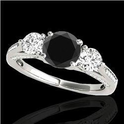 1.75 ctw Certified VS Black Diamond 3 Stone Ring 10k White Gold - REF-80N6F