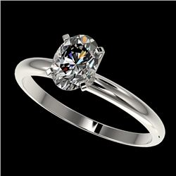 1 ctw Certified VS/SI Quality Oval Diamond Solitaire Ring 10k White Gold - REF-243W2H