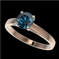1.03 ctw Certified Intense Blue Diamond Engagment Ring 10k Rose Gold - REF-97M2G