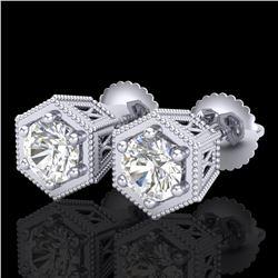 1.15 ctw VS/SI Diamond Solitaire Art Deco Stud Earrings 18k White Gold - REF-214G5W