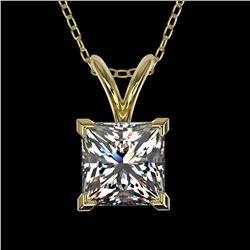 1 ctw Certified VS/SI Quality Princess Diamond Necklace 10k Yellow Gold - REF-239G3W