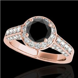 1.8 ctw Certified VS Black Diamond Solitaire Halo Ring 10k Rose Gold - REF-80G5W