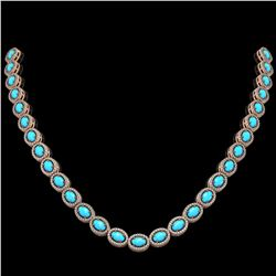 25.51 ctw Turquoise & Diamond Micro Pave Halo Necklace 10k Rose Gold - REF-500H8R