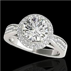 1.65 ctw Certified Diamond Solitaire Halo Ring 10k White Gold - REF-204X5A