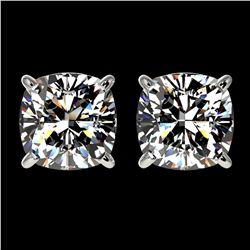 2 ctw Certified VS/SI Quality Cushion Diamond Stud Earrings 10k White Gold - REF-478Y6X