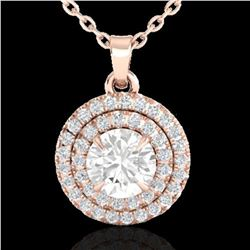 1 ctw Micro Pave VS/SI Diamond Solitaire NECKALCE Halo 14k Rose Gold - REF-160A2N