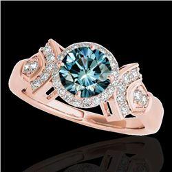 1.56 ctw SI Certified Fancy Blue Diamond Halo Ring 10k Rose Gold - REF-156Y8X