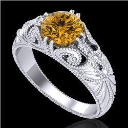 1 ctw Intense Fancy Yellow Diamond Art Deco Ring 18k White Gold - REF-263K6Y