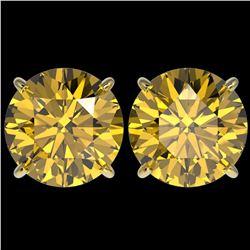 5 ctw Certified Intense Yellow Diamond Stud Earrings 10k Yellow Gold - REF-810G2W