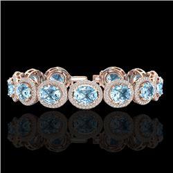 30 ctw Sky Blue Topaz & Micro Pave VS/SI Diamond Bracelet 10k Rose Gold - REF-360K2Y
