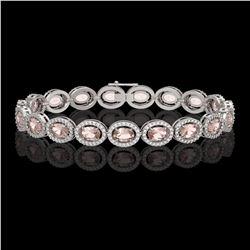14.25 ctw Morganite & Diamond Micro Pave Halo Bracelet 10k White Gold - REF-294F2M