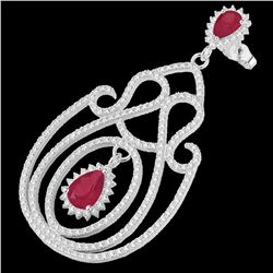 6.40 ctw Ruby & Micro Pave VS/SI Diamond Earrings 14k White Gold - REF-381M8G