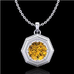 0.75 ctw Intense Fancy Yellow Diamond Art Deco Necklace 18k White Gold - REF-100K2Y