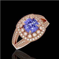 2.74 ctw Certified Tanzanite & Diamond Victorian Ring 14K Rose Gold - REF-101W8H
