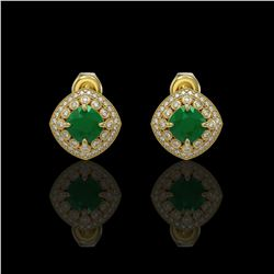 4.99 ctw Certified Emerald & Diamond Victorian Earrings 14K Yellow Gold - REF-128N5F
