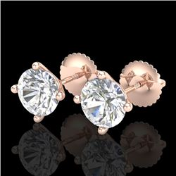 2 ctw VS/SI Diamond Solitaire Art Deco Stud Earrings 18k Rose Gold - REF-483K5Y