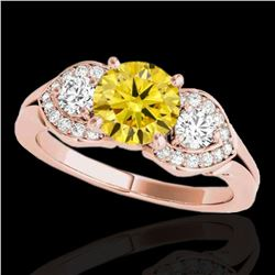 1.7 ctw Certified SI Intense Yellow Diamond 3 Stone Ring 10k Rose Gold - REF-252G3W