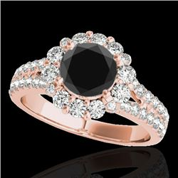 2.01 ctw Certified VS Black Diamond Solitaire Halo Ring 10k Rose Gold - REF-76N6F