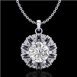 1.2 ctw VS/SI Diamond Art Deco Micro Pave Stud Necklace 18k White Gold - REF-220N2F