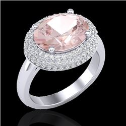 4.50 ctw Morganite & Micro Pave VS/SI Diamond Ring 18k White Gold - REF-163M8G