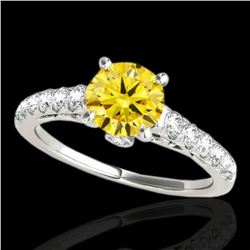 1.5 ctw Certified SI/I Fancy Intense Yellow Diamond Ring 10k White Gold - REF-197X8A
