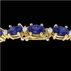 26.3 ctw Tanzanite & VS/SI Diamond Eternity Bracelet 10k Yellow Gold - REF-345M5G