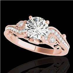 1.25 ctw Certified Diamond Solitaire Antique Ring 10k Rose Gold - REF-197H8R