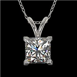 1 ctw Certified VS/SI Quality Princess Diamond Necklace 10k White Gold - REF-239A3N