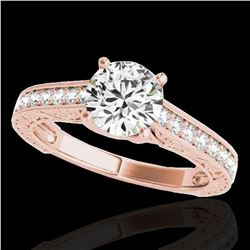 1.32 ctw Certified Diamond Solitaire Ring 10k Rose Gold - REF-184R3K