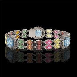 20.67 ctw Sapphire & Diamond Bracelet 14K White Gold - REF-289A5N
