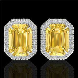 8.40 ctw Citrine & Micro Pave VS/SI Diamond Earrings 18k White Gold - REF-80A2N