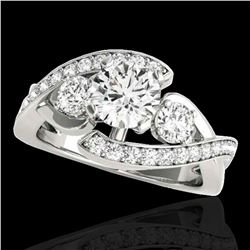 2.01 ctw Certified Diamond Bypass Solitaire Ring 10k White Gold - REF-300G2W
